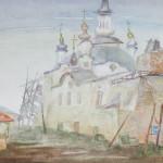 Архипова Елена. Из серии Тобольск. Церковь святого Захария. Акварель. 2003 год.